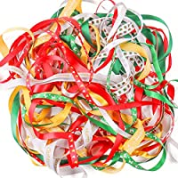 Luxbon Christmas Ribbons 20M(10 x 2M each Colorful Xmas Theme Grosgrain Ribbons Bundle Printed with Tree, Bowknot and Gift Box and Festive Greeting for Winter Holiday Decoration