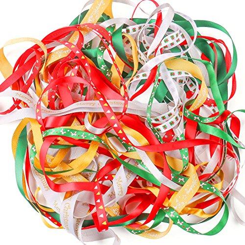 Luxbon Cinta Navidad Año Nuevo 20m (10x2m) DIY Decoración para Regalo Fiesta Boda Hogar Christmas Multicolor Árbol Pápa Noel Nieve Estrella