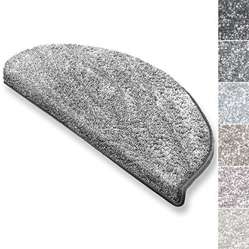 casa pura Stufenmatten Sundae | viele Varianten | Treppenteppich mit kuschlig weichem Flor | kombinierbar mit passenden Läufern | Silber - Halbrund - 15 Stück Set