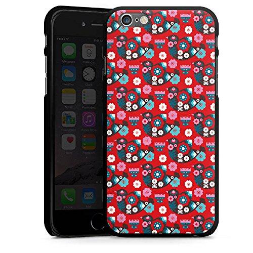 Apple iPhone 6 Housse Étui Silicone Coque Protection Oiseau Fleurs Fleurs CasDur noir
