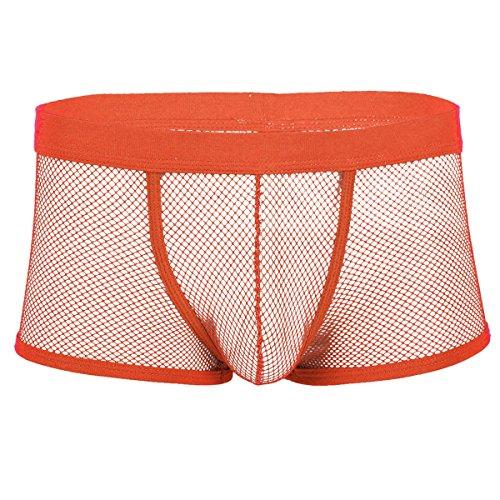 YiZYiF Männer bequem atmen Unterwäsche Slip Bulge Pouch Shorts Transparent Mesh Unterhosen Herren Boxershorts Reizwäsche Trunk Gr. L XL XXL Orange XXL