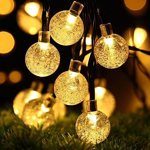 LED Solar Lichterkette, DINOWIN Wasserdicht 20ft 30 LED Crystal Ball String Lichter, Indoor Outdoor...