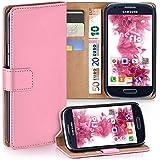 OneFlow Tasche für Samsung Galaxy S3 Mini Hülle Cover mit Kartenfächern | Flip Case Etui Handyhülle zum Aufklappen | Handytasche Schutzhülle Zubehör Handy Schutz Bumper in Rosa