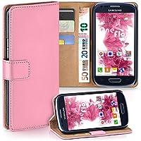 Samsung Galaxy S3 Mini Hülle Rosa mit Karten-Fach [OneFlow 360° Book Klapp-Hülle] Handytasche Kunst-Leder Handyhülle für Samsung Galaxy S3 Mini S III Case Flip Cover Schutzhülle Tasche