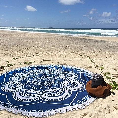 Leeron Round Roundie Indian Mandala Round Roundie Tapestry Fringe Tassel Beach Throw Hippy Boho Gypsy Tablecloth Beach Towel Round Blanket Table Cover Yoga Mat Picnic Mat (Navy