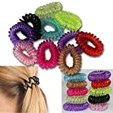 Bid Buy Direct Gomas para el pelo Ponytail Holders–Pack de 10colores surtidos elástico elástica pelo cuerdas–Espiral Slinky–Gomas para el pelo niñas/mujeres accesorios