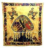Seta tapices Mandala Hippie bohemio Psychedelic intrincados Indian colcha 92x 82Inches Aakriti...