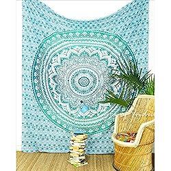 Tapiz y manta diseño étnico para cama turquesa