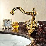 Po-sacher Badezimmer Waschbecken Wasserhahn Messing Vergoldet Arc Hebel Hohen Hals Säule Taps Zwei Griff Keramikscheibe Ventil Spülbecken Mischbatterien Warmes und Kaltes Tippen