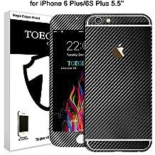 Toeoe - Adhesivo para iPhone, lujo, 3D con textura de fibra de carbono, para iPhone con funda transparente, negro, for iPhone 6s Plus/6 Plus