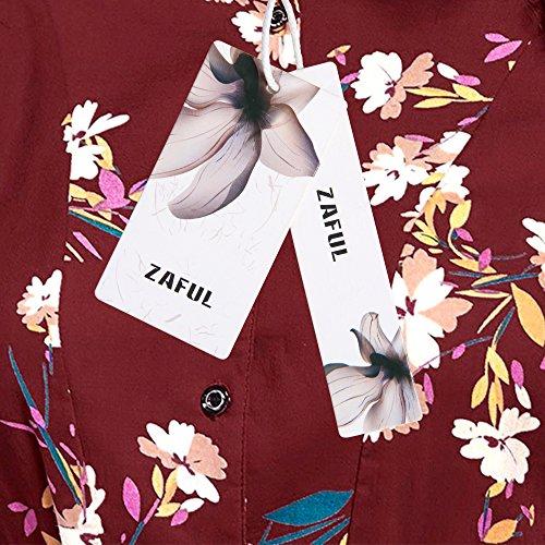 ZAFUL Damen Blumen Maxikleid Elegant Langarm Partykleid Herbst Lange Kleider in 3 Farben Weinrot