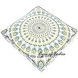 Eyes of India - 35' Surdimensionné Grand Mandala Carré Sol Méditation Housse Oreiller Pouf Coussin Sièges Hippie Plein de Couleurs Décorative Boho Lit pour Chien Bohème Indienne Housse Uniquement
