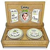 FANS & Friends Baby Erinnerungsbox Holz | Personalisiert mit Foto, Namen & Daten | Geschenk-Set erste Locke erster Zahn | Milchzahndose | erste Locke Set