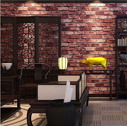 JSLCR Retro 3D Backstein Muster Tapete verfügt über ein Teehaus Café Restaurant, Cyber Café Tapete,Ziegelrot