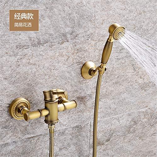 Antiguo Ducha Simple De Cobre De La BañEra BañO De Ducha De Agua FríA Y Caliente Del Grifo VáLvula Mezcladora Triple Set De Ducha De Bambú A.