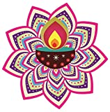 Asmi Collections PVC Floor Art Beautiful Multi Colors Peacock Feathers and Diya Rangoli(2 Feet * 2 Feet)