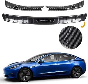 Tesla Model 3 Heckstoßstange Schwellerabdeckung Innerer äußerer Schutz Schutz Stoßstange Für Autozubehör Edelstahl Innenansicht Des Blendeneinsatzes Auto