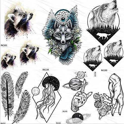 lijinjin Temporäre Tattoo-Aufkleber Tribal Waschbär Wolf Temporäre Tattoos Aufkleber Wald Runde Howl Fake Tattoo Benutzerdefinierte Tatoos Kunst Flügel Blume Traumfänger 10X6Cm 7Pc