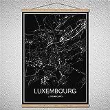 TIANLIANG Welt Stadtplan Öl Malerei Moderne Poster Leinwand Abstrakte Bild Drucken Cafe Bar Einrichtung Wohnzimmer Mit Rahmen, Luxemburg, 40 X 60 cm Mit Rahmen