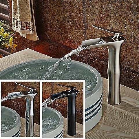 Nuevo diseño de montaje de cubierta TougMoo cascada baño grifo de fregadero con un asa mezcladores de lavabo con agua fría y caliente para la elección de 3 colores,niquel cepillado