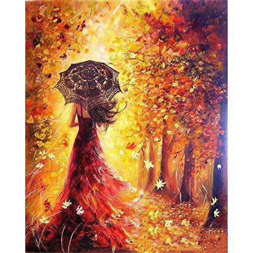GLLCYL DIY Ölgemälde Farbe Nach Anzahl Kit Zeichnung Gold Hintergrund Regenschirm Mädchen 50X60Cm