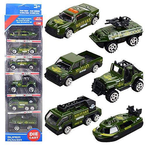 Th toys mini modelli di militari con elementi pressofusi set di veicolo militare,confezione 6 auto assortiti