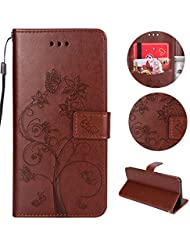"sycode funda estilo cartera para iPhone 6S Plus, funda con tapa para iPhone 6 Plus, piel sintética función atril funda magnética con ranura de tarjeta de Crédito y correa Retro Elegante Hermoso diseño floral diseño rosa Slim Fit Libro Estilo protección interior de TPU suave carcasa para iPhone 6S Plus/6 Plus 5.5 ""color rojo, color Butterfly Flower Tree Ant,Brown, tamaño iPhone 6S Plus/6 Plus 5.5"""