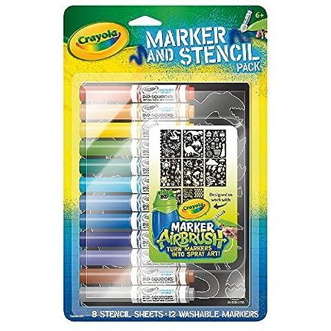 Crayola Marker and stencil Pack Blue–Jouet de peinture (Multi, Multi, ampoule, enfant, Boy/Girl)