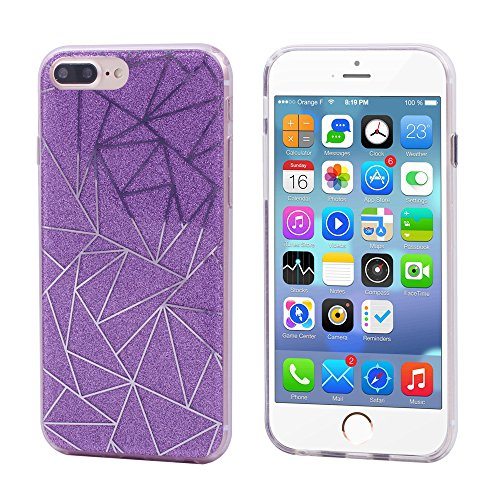 iProtect Apple iPhone 7 Plus, iPhone 8 Plus biegsame TPU Soft Case Hülle Glitzer Pailletten Design in Rosegold asymmetrisch lila