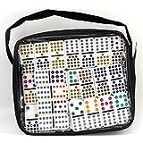Weico 99058–Sociedad Juego, Domino Double Fifteen 136piedras con puntos de colores, bolsillo con cremallera, color blanco