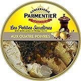 Parmentier Petites Sardines l'Huile d'Olive Vierge Extra aux Quatre Poivres Sprattus Sprattus de l'Atlantique Nord-Est 150 g