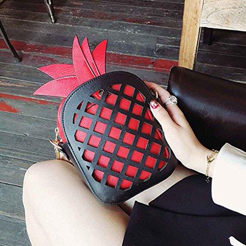 Miaomiaogo Sacchetti di spalla delle donne di cuoio di cuoio dell'unità di elaborazione sacchetto del messaggero delle borse della catena di figura dell'ananas giallo