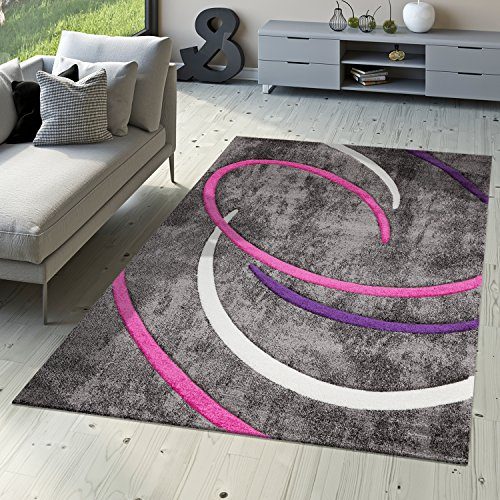 Pelo Corto Salón Alfombra Modern Ebro con espirales círculos en gris lila crema, 160 x 230 cm