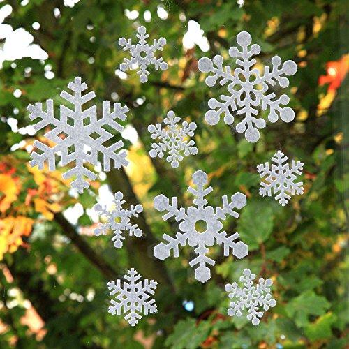 Lot de 18 Autocollants de Fenêtre Flocons de Neige Décorations de Noël Adhésives en Feutre Blanc