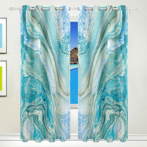 XiangHeFu Schöne Einrichtung Verdunklungsvorhänge mit Tülle Top Abstrakt Tinte Marmor Stein Textur BLAU Vorhänge Set von 2Platten, je 55W x 84L Zoll für Home Wohnzimmer Schlafzimmer Büro -