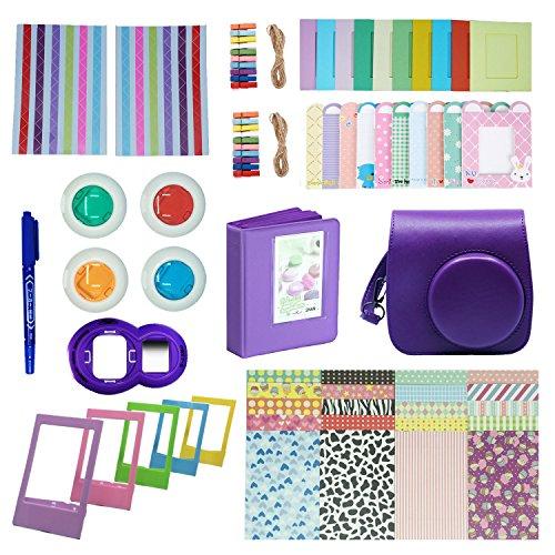 FollowSun 10 en 1 Kit d'Accessoires Pour Appareils photo instantané Fujifilm Mini 8 8S 8+ 9, Inclus Etui Caméra Violet/Album (64 Poches)/Selfie Object...