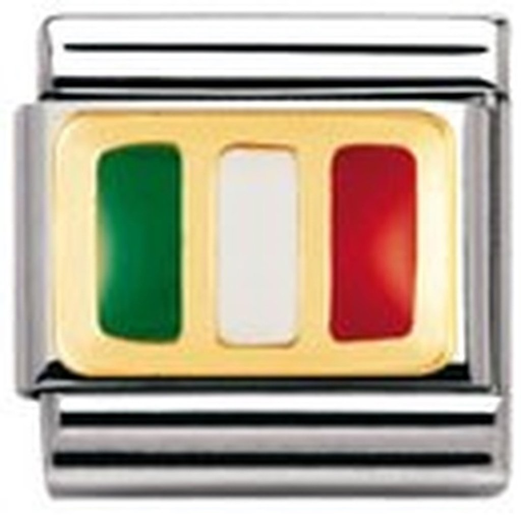 Nomination Composable Classic Flags of Europe Italy Stainless Steel, Enamel and 18K Gold