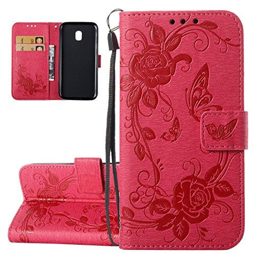 ISAKEN Hülle für Samsung Galaxy J3 2017, PU Leder Brieftasche Geldbörse Wallet Case Handyhülle Tasche Schutzhülle Etui mit Handschlaufe Strap für Samsung Galaxy J3 2017 - Rose Schmetterling Rosa