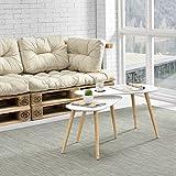 [en.casa] Hochwertiger Couchtisch im 2er-Set - weiß - Tischbeine aus massiven Holz - Buche