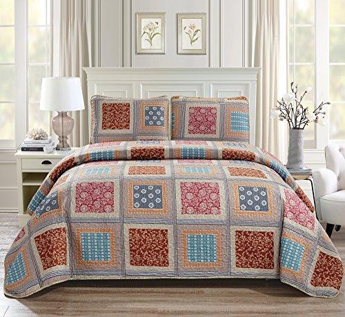 Linen Plus Bettwäsche-Set für King-Size-Bett/California King 3-teilig gesteppt Übergröße Tagesdecke mit Blumenmuster in Beige/Taupe / Rot/Blau (Rot Bettwäsche Set King)