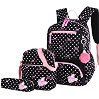 VIDOSCLA 3Pcs Crown Prints Backpack Sets Bowknot Primary Schoolbag Travel Daypack Shoulder Bag Pencil Case