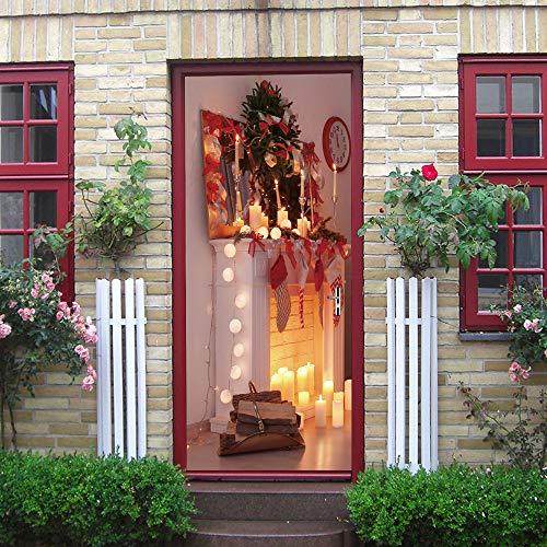 Etiqueta De La Puerta Diy Navidad Decorativa Plana Cálida Chimenea Pvc Papel...
