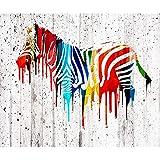 decomonkey Fototapete Graffiti Steinwand 400x280 cm XXL Design Tapete Fototapeten Vlies Tapeten Vliestapete Wandtapete moderne Wand Schlafzimmer Wohnzimmer Zebra Bunt Grau FOB0148a84XL