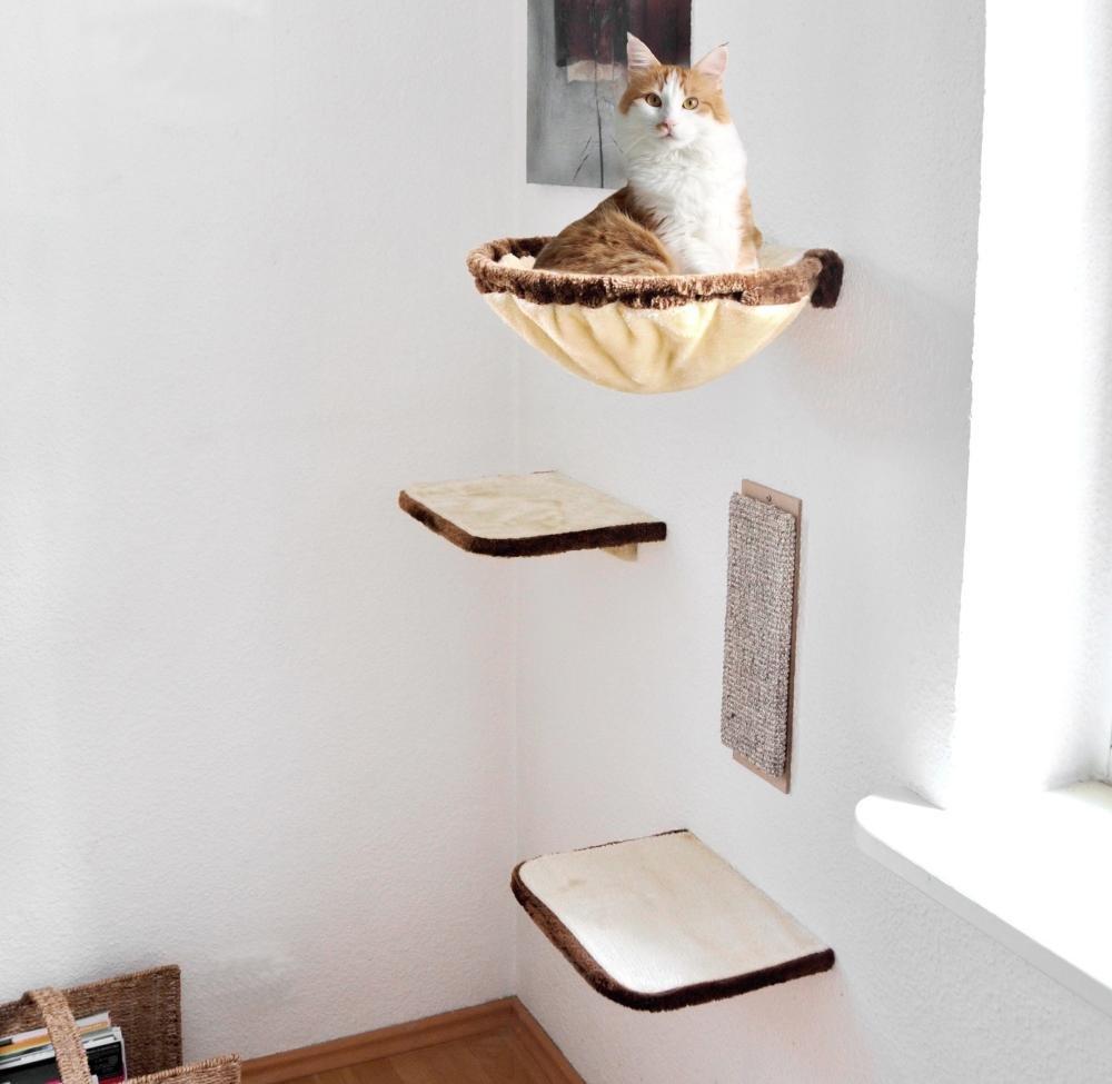 Silvio, diseño de Gato Escalada Pared 4Piezas Beige de Color marrón, 21877.000