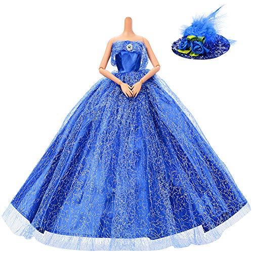 länzend Handgefertigte Prinzessin Kleid Brautkleider für Barbie-Puppen mit Feder Hut (Blau) ()