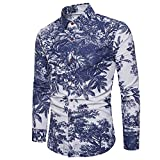 Aelegant Herren Sommer Frühling Artistic Personality T-Shirt mit Blumen Aufdruck Slim fit Langarm Stehkragen Shirts Freizeit Hemd große Größe