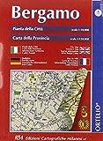 Bergamo città e provincia. Pianta della città 1:10.000. Carta della provincia 1:110.000