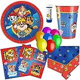 Amscan, doriantrade Juego de Fiesta (58 Piezas), diseño de Patrulla Canina, Color Rojo y Azul para 8 niños para cumpleaños Infantil Platos Vasos servilletas Mantel