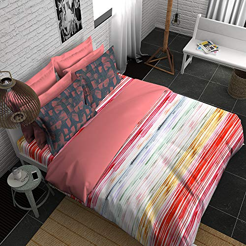 Boutique Living India - Pink,White,Green 300TC King Size Cotton Printed with 2 Pillow Covers Bedsheet Set-(274cm x 274cm) Expression - Buy Online Bedsheet