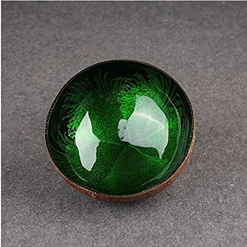 Decorative Bowl, Essort Natural Coconut Shell Bowl Dishes Mosaic Handmade Kitchen Paint Craft Home Decorate Green